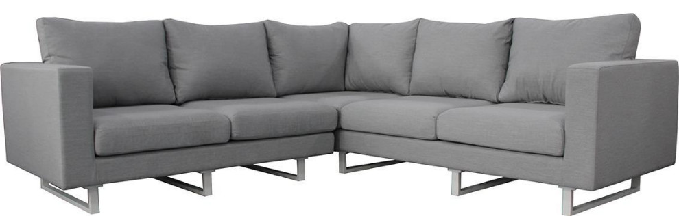 Dovetail Vickers Sofa L Shape White Coating Sunbrella Fabric Contemporary Sectional Sofas By Euroluxhome