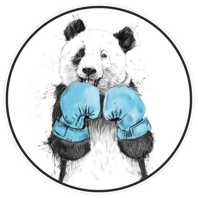 Boxing Panda Bear Wall Decal The Winner By Balazs Solti Small
