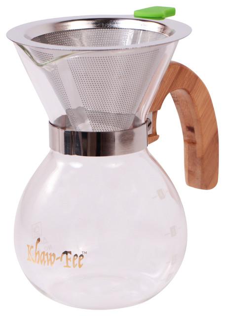Modern Glass Coffee Maker : 1-3 Cup Blown Glass Pour Over Coffee Maker - Contemporary - Coffee Makers - by khaw-fee