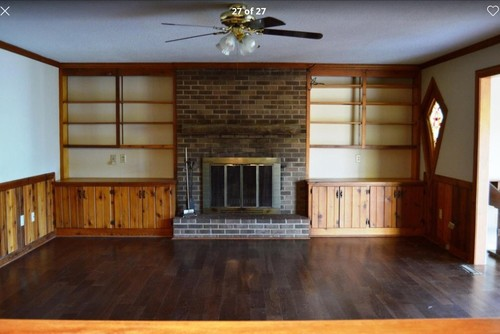Painting wood paneling shelves and updating old fireplace Ways to update wood paneling