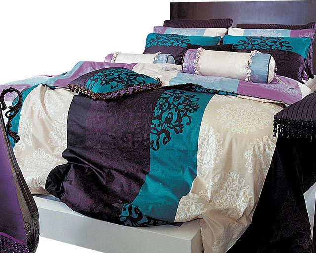 Turquoise, Purple And Black Damask Queen Duvet Cover Set, Queen