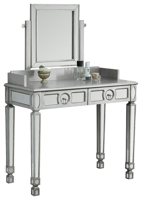 Vanity 36 l brushed silver mirror with 2 drawers for Bedroom vanity without mirror