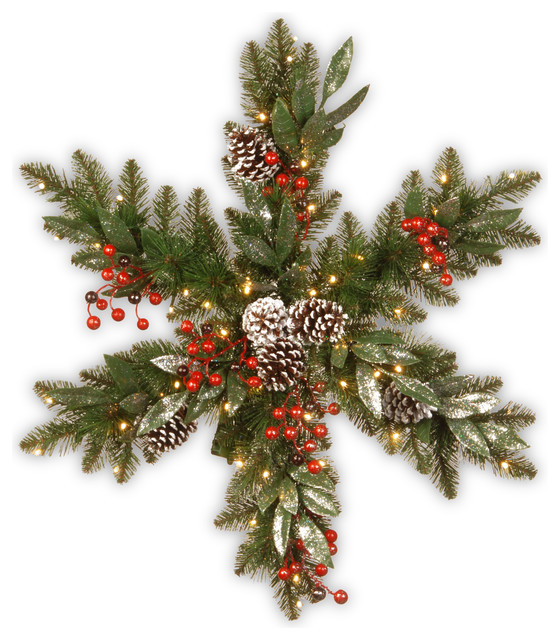 """Frosted Pine Berry Snowflake With Battery Operated Led Lights, 32""""."""