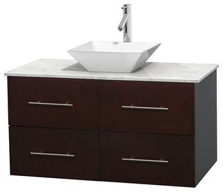 "Centra 42"" Espresso Vanity, Carrera Marble Top, Pyra White Porcelain"