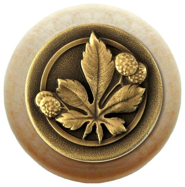 Horse Chestnut Wood Knob, Antique Brass, Natural Wood ...