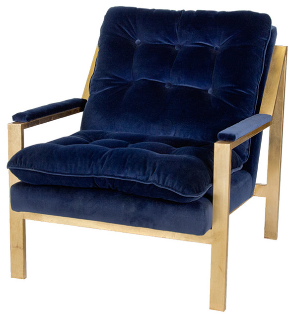 Great Cumulus Hollywood Regency Navy Blue Velvet Gold Arm Chair  Transitional Armchairs And Accent