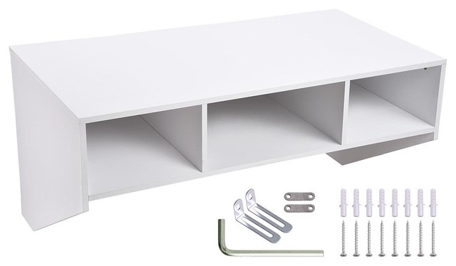 Wall Mounted Floating Desk Storage Computer, White.