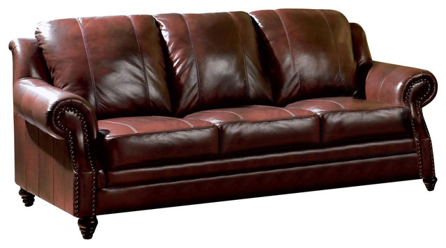 Burgundy Leather Sofa With Nailheads Traditional Sofas