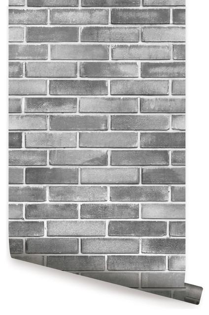 "Grey Cement Brick Peel And Stick Wallpaper, 24""x108""."