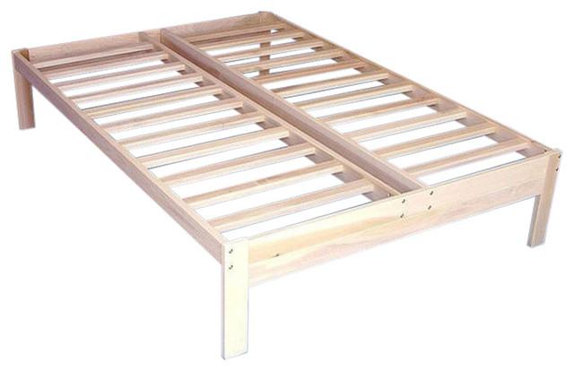 Full Size Unfinished Wood Platform Bed Frame With Wooden Slats ...