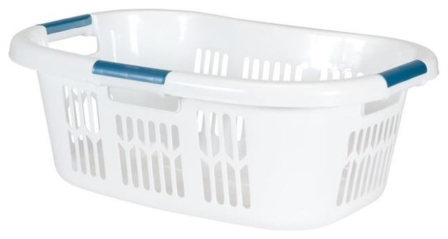 "Rubbermaid 2997-87 Laundry Basket, 25-3/4""x17""x9-1/2"", White"