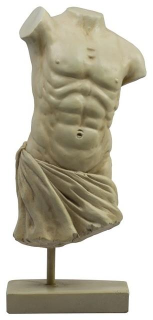 Roman Male Torso Sculpture Traditional Decorative