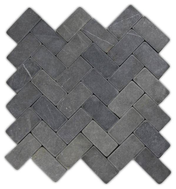"11""x12"" Gray Herringbone Stone Mosaic Tile"