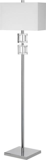 C35f-Pc 1-Light Crystal Floor Lamp, Polished Chrome, Clear.