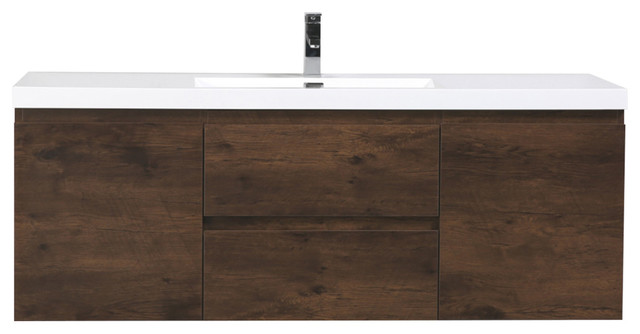 "MOB 60"" Single Acrylic Sink Wall Mounted Vanity, Rosewood"