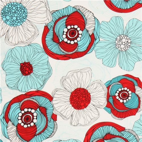 White Flower Fabric By Robert Kaufman Red Teal Fabric By Kawaii