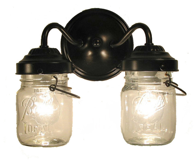 Vintage Clear Canning Jar Double Sconce Light Farmhouse Bathroom Vanity Lighting By The