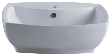 Marquis White China Vessel Bathroom Sink With Overflow Hole And Faucet Hole.