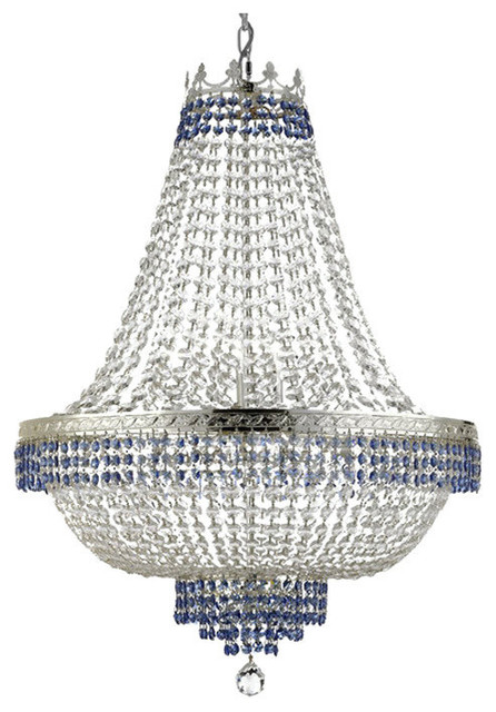 Empire Crystal Chandelier With Blue