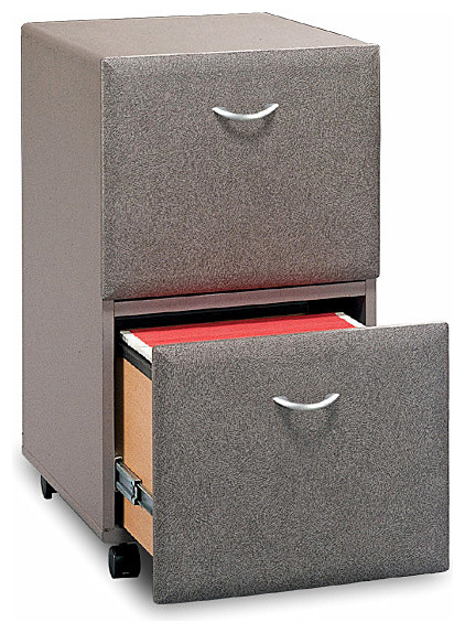 Pewter Finish Two Drawer Rolling File Cabinet ...