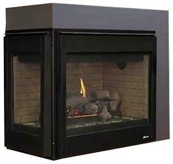 "Superior 40"" Dv Left Corner Black Interior Electronic Fireplace , Natural Gas."