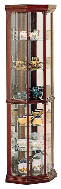 Coaster Solid Cherry Wood Glass Corner Curio Cabinet With
