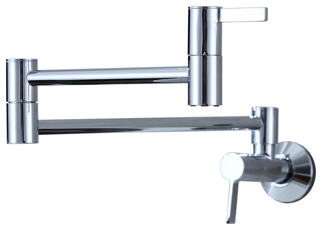 Single Hole Two Handles Wall Mount Kitchen Faucet Pot Filler, Chrome.
