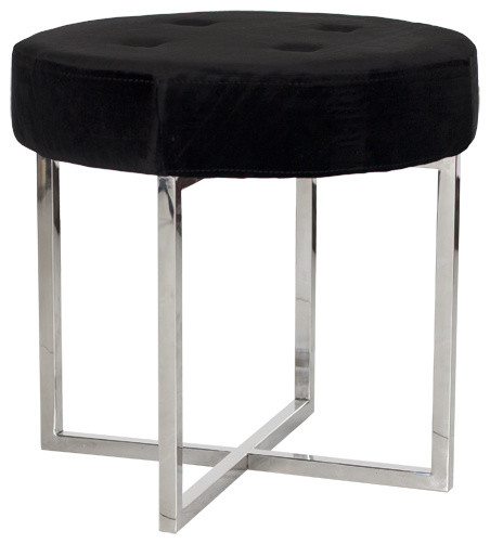 Worlds Away Melanie Black Velvet Round Nickel Stool - Contemporary ...