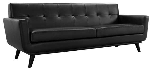 Engage Bonded Leather Sofa, Black