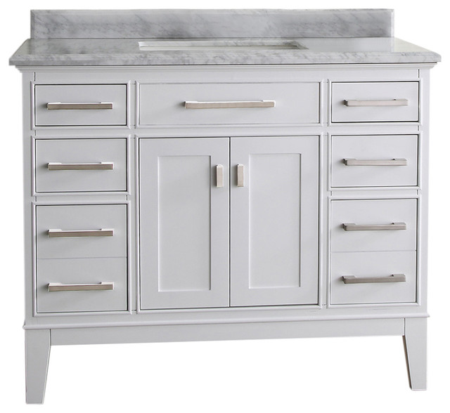 Danny Single Bathroom Vanity Set, White, 42""