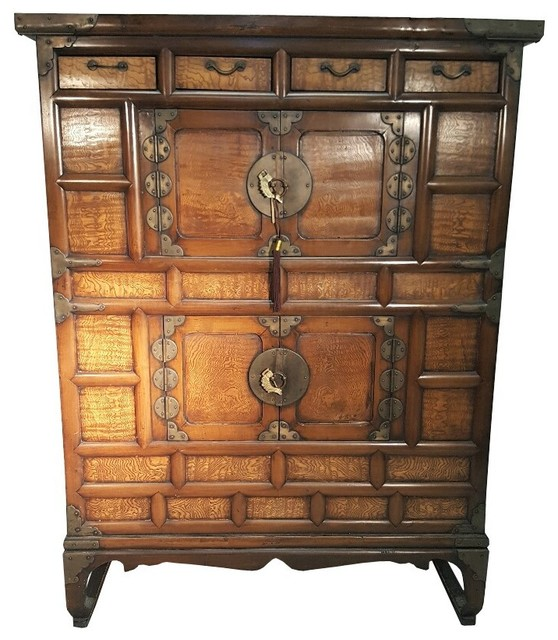 Korean Antique Chest On Chest With Chestnut Root Burlwood asian-accent ...