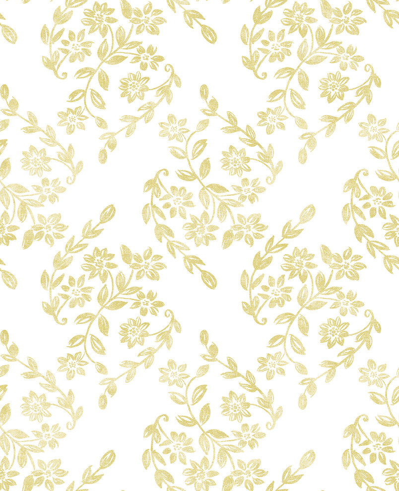 Arabesque Mustard Floral Trail Wallpaper Contemporary