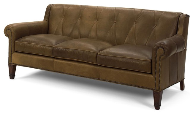 Leather Sofa Top Grain Leather Wood Transitional Sofas