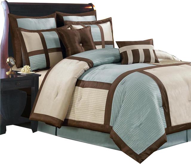 Morgan 100 Microfiber 8 Piece Luxury, Brown Luxury Bedding Sets