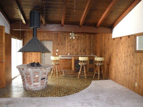 What would you do to update an indoor firepit/ knotty pine time warp?
