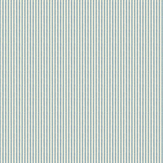 Pinstripe Cotton Fabric, Light Blue