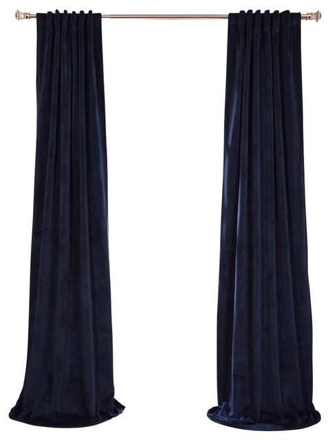Signature Midnight Blue Blackout Velvet Curtain Single