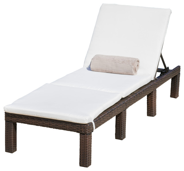 estrella outdoor multibrown wicker adjustable chaise lounge chair with cushion tropical. Black Bedroom Furniture Sets. Home Design Ideas