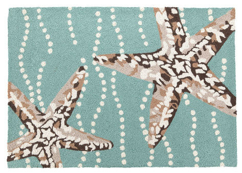 Marvelous Starfish Hooked Rug, Pale Blue With Brown And White Starfish, 27 X 40 Beach