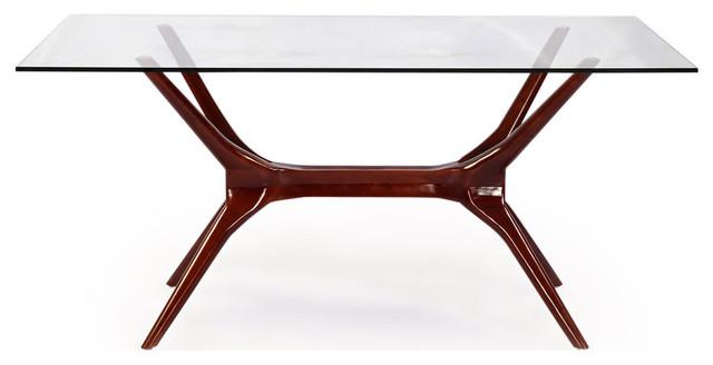 4d126b13eba9 Sputnik Midcentury Modern Dining Table, Walnut Legs and Glass Top ...