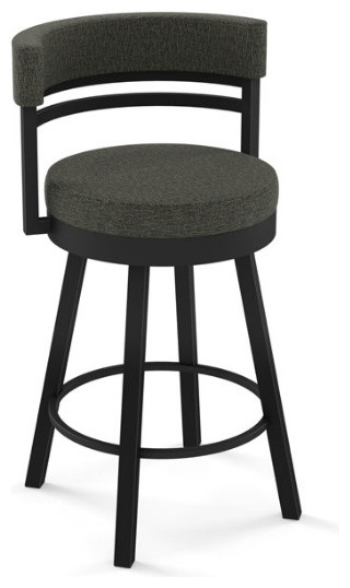 Round Swivel Stool With Metal Base Transitional Bar