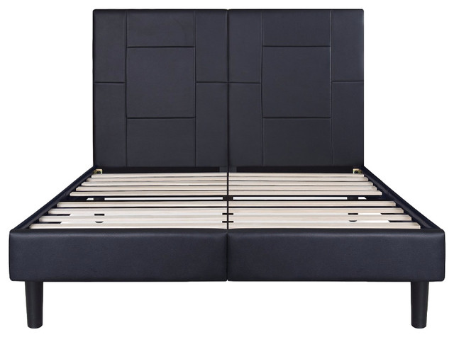 Garrett Metal Faux Leather Wood Folding Black Platform Bed, King.