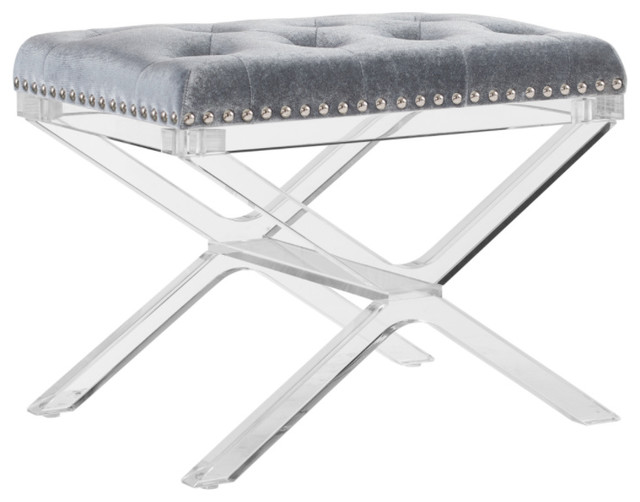 Surprising Kelsi X Base Black Vanity Bench With Acrylic Legs Silver Dailytribune Chair Design For Home Dailytribuneorg