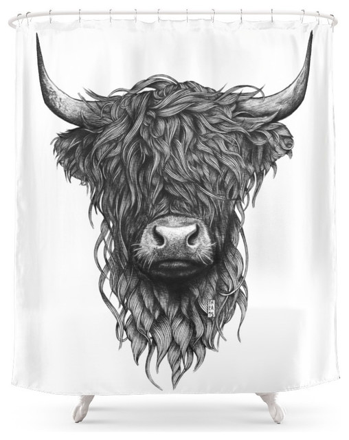 Society6 Highland Cattle Shower Curtain southwestern-shower-curtains - Society6 Highland Cattle Shower Curtain - Southwestern - Shower