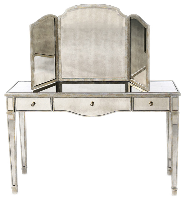 Rosedale Mirrored Vanity Contemporary Bedroom Amp Makeup