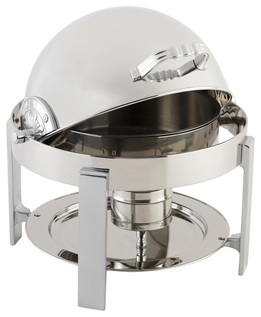 Petite Chafer With Contemporary Legs And Chrome Trim.