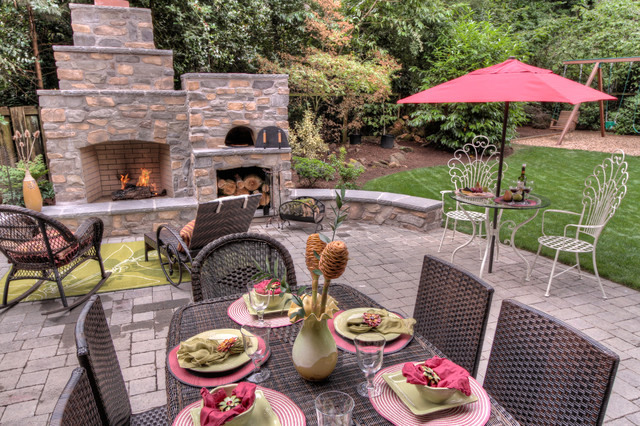 Outdoor Fireplace With Pizza Oven Traditional  Outdoor Fireplace And Pizza Oven