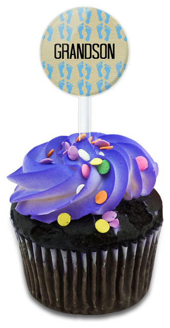 Grandson And Precious Baby Feet Cupcake Toppers Picks Set.