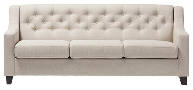 Arcadia Fabric Upholstered Button-Tufted Living Room 3-Seater Sofa, Light Beige.