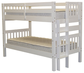 Bedz King Bunk Beds Twin over Twin, White, Quality Bunk Beds